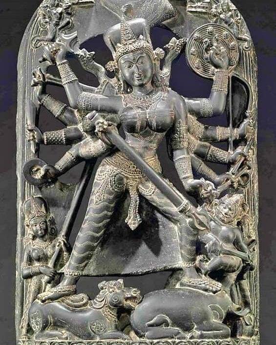 A beautiful Murti of 'MahishasurMardini' from Bengal, Pala Dynasty Here Mahishas...